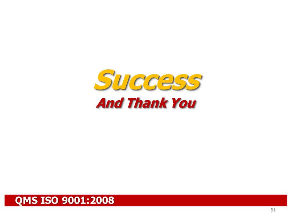 QMS ISO 9001:2008 81 Success And Thank You Success