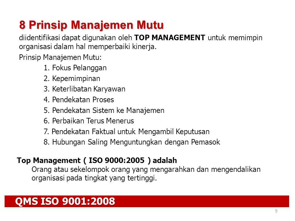 QMS ISO 9001:2008 9 8 Prinsip Manajemen Mutu diidentifikasi dapat digunakan oleh TOP MANAGEMENT untuk memimpin organisasi dalam hal memperbaiki kinerj