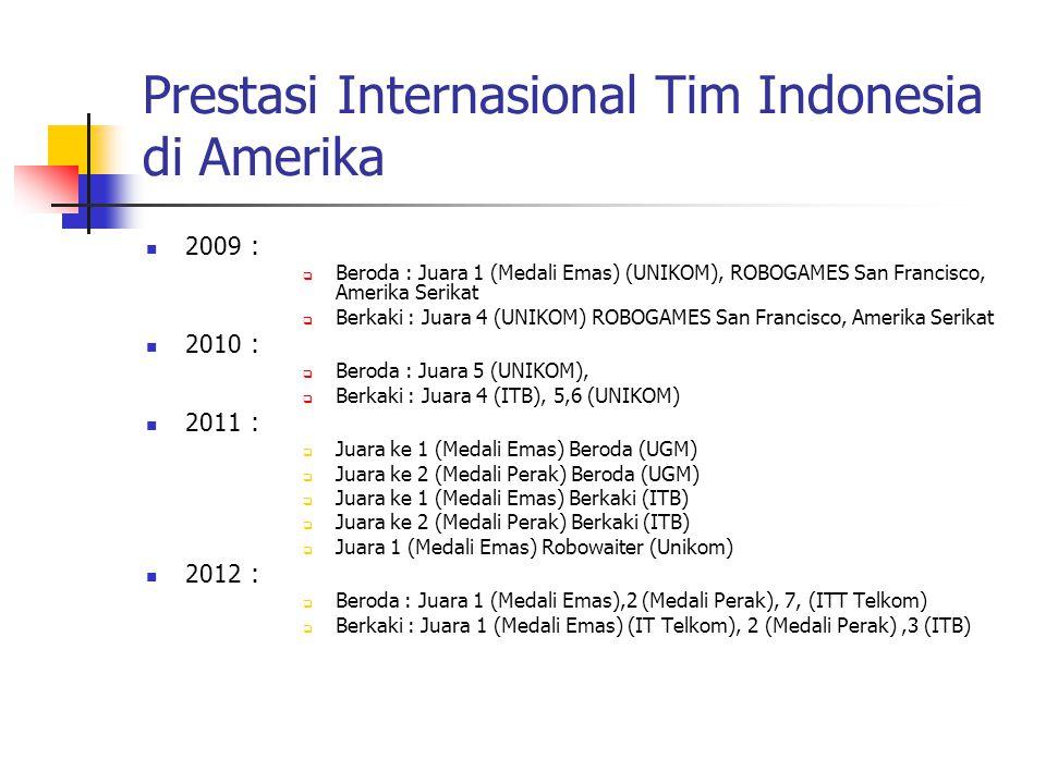 Prestasi Internasional Tim Indonesia di Amerika 2009:  Beroda : Juara 1 (Medali Emas) (UNIKOM), ROBOGAMES San Francisco, Amerika Serikat  Berkaki :