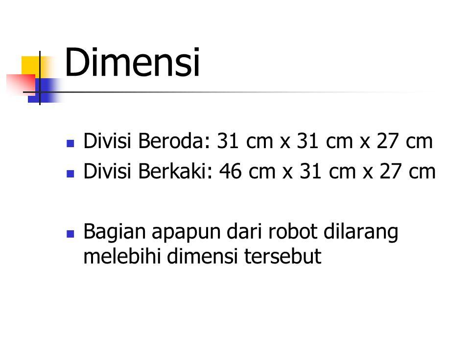 Dimensi Divisi Beroda: 31 cm x 31 cm x 27 cm Divisi Berkaki: 46 cm x 31 cm x 27 cm Bagian apapun dari robot dilarang melebihi dimensi tersebut