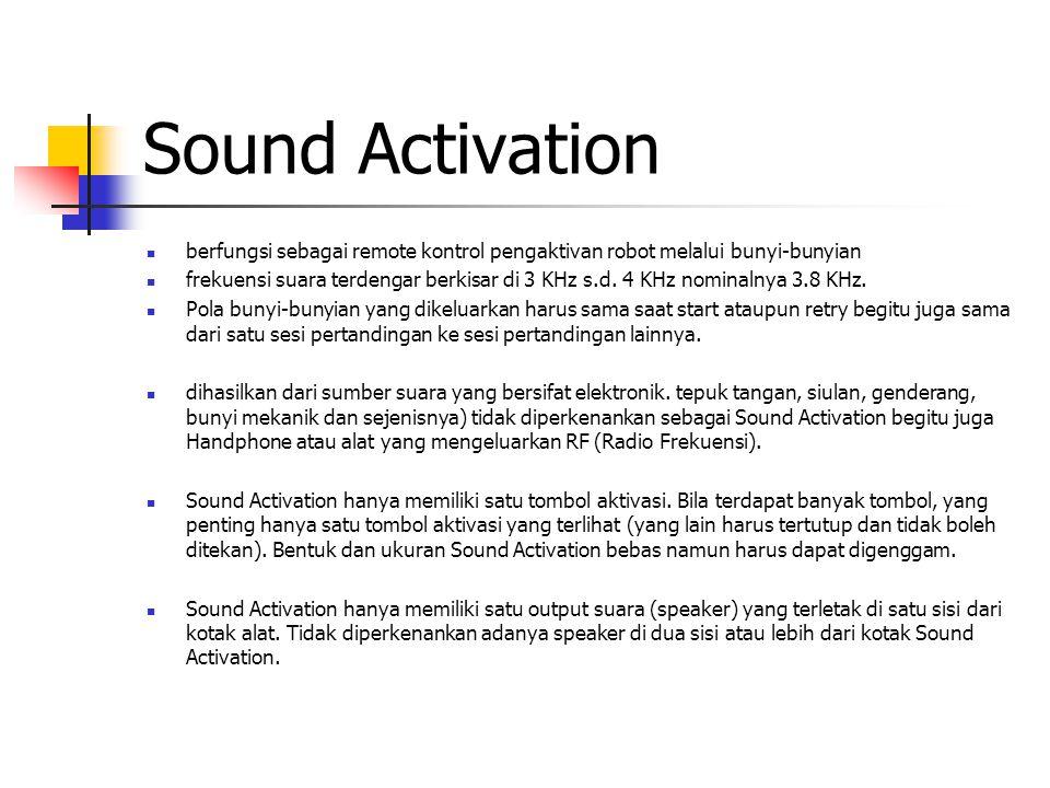 Sound Activation berfungsi sebagai remote kontrol pengaktivan robot melalui bunyi-bunyian frekuensi suara terdengar berkisar di 3 KHz s.d. 4 KHz nomin