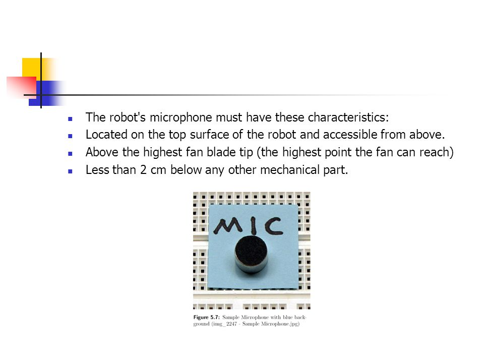 The robot s microphone must have these characteristics: Located on the top surface of the robot and accessible from above.