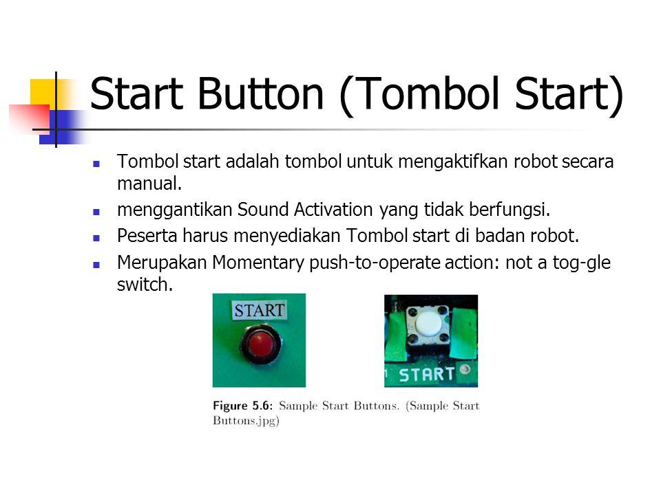 Start Button (Tombol Start) Tombol start adalah tombol untuk mengaktifkan robot secara manual. menggantikan Sound Activation yang tidak berfungsi. Pes