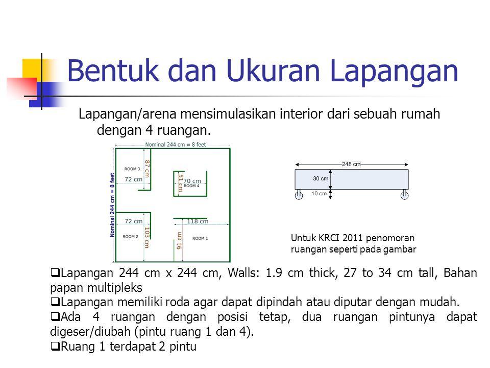 Bentuk dan Ukuran Lapangan Lapangan/arena mensimulasikan interior dari sebuah rumah dengan 4 ruangan. Untuk KRCI 2011 penomoran ruangan seperti pada g