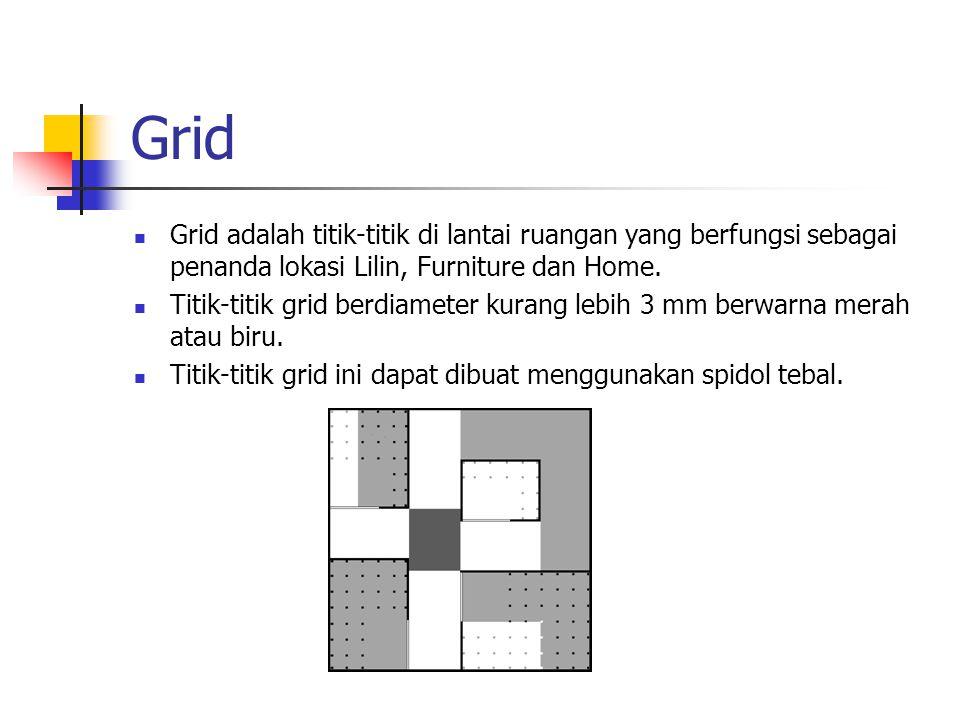 Grid Grid adalah titik-titik di lantai ruangan yang berfungsi sebagai penanda lokasi Lilin, Furniture dan Home. Titik-titik grid berdiameter kurang le