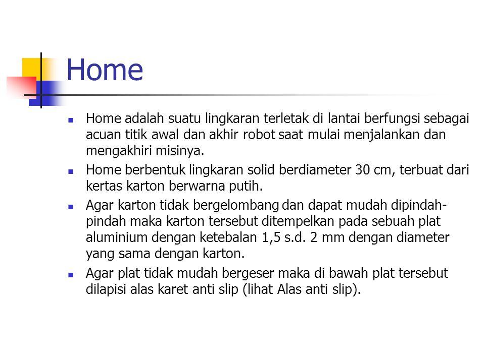Home Home adalah suatu lingkaran terletak di lantai berfungsi sebagai acuan titik awal dan akhir robot saat mulai menjalankan dan mengakhiri misinya.