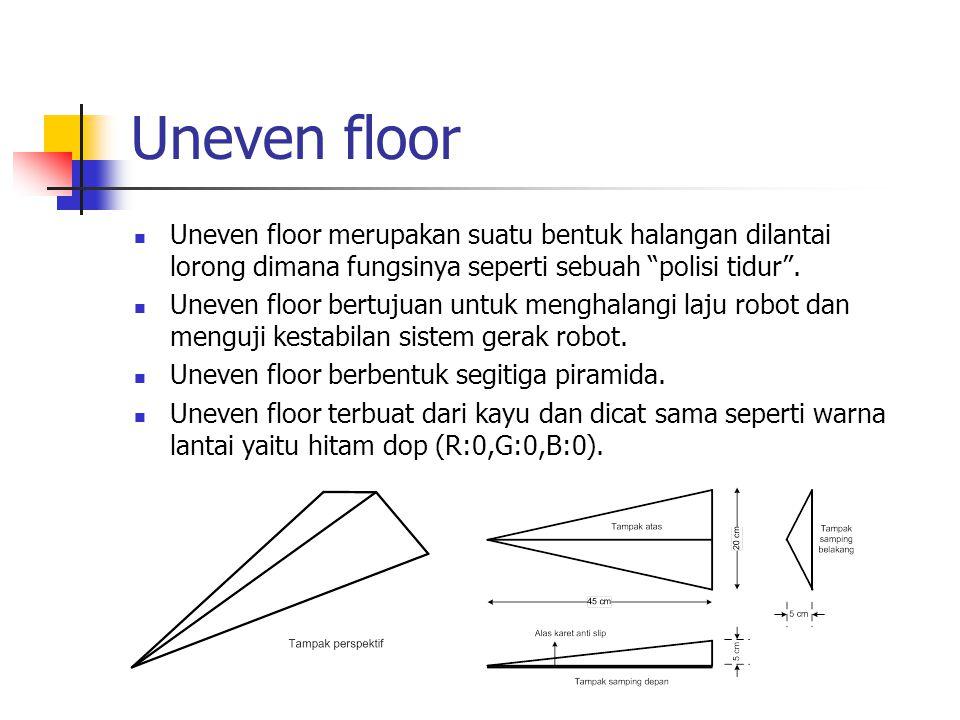 """Uneven floor Uneven floor merupakan suatu bentuk halangan dilantai lorong dimana fungsinya seperti sebuah """"polisi tidur"""". Uneven floor bertujuan untuk"""