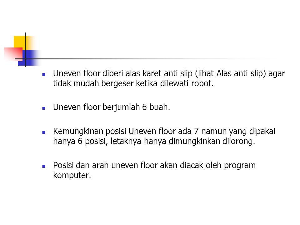 Uneven floor diberi alas karet anti slip (lihat Alas anti slip) agar tidak mudah bergeser ketika dilewati robot. Uneven floor berjumlah 6 buah. Kemung