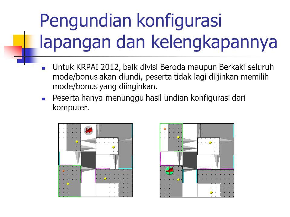 Pengundian konfigurasi lapangan dan kelengkapannya Untuk KRPAI 2012, baik divisi Beroda maupun Berkaki seluruh mode/bonus akan diundi, peserta tidak l