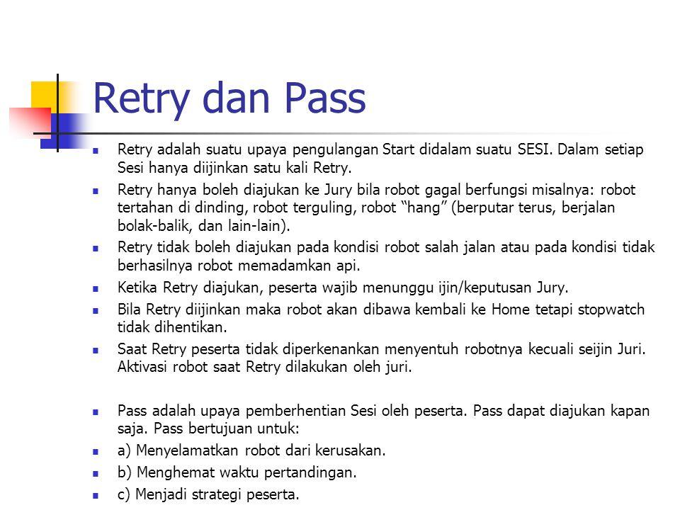 Retry dan Pass Retry adalah suatu upaya pengulangan Start didalam suatu SESI. Dalam setiap Sesi hanya diijinkan satu kali Retry. Retry hanya boleh dia