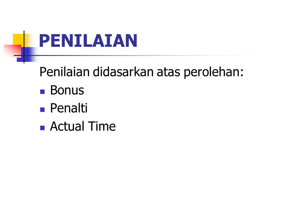PENILAIAN Penilaian didasarkan atas perolehan: Bonus Penalti Actual Time