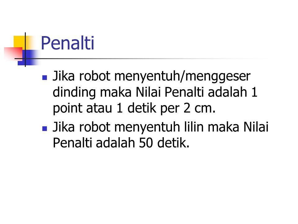 Penalti Jika robot menyentuh/menggeser dinding maka Nilai Penalti adalah 1 point atau 1 detik per 2 cm. Jika robot menyentuh lilin maka Nilai Penalti