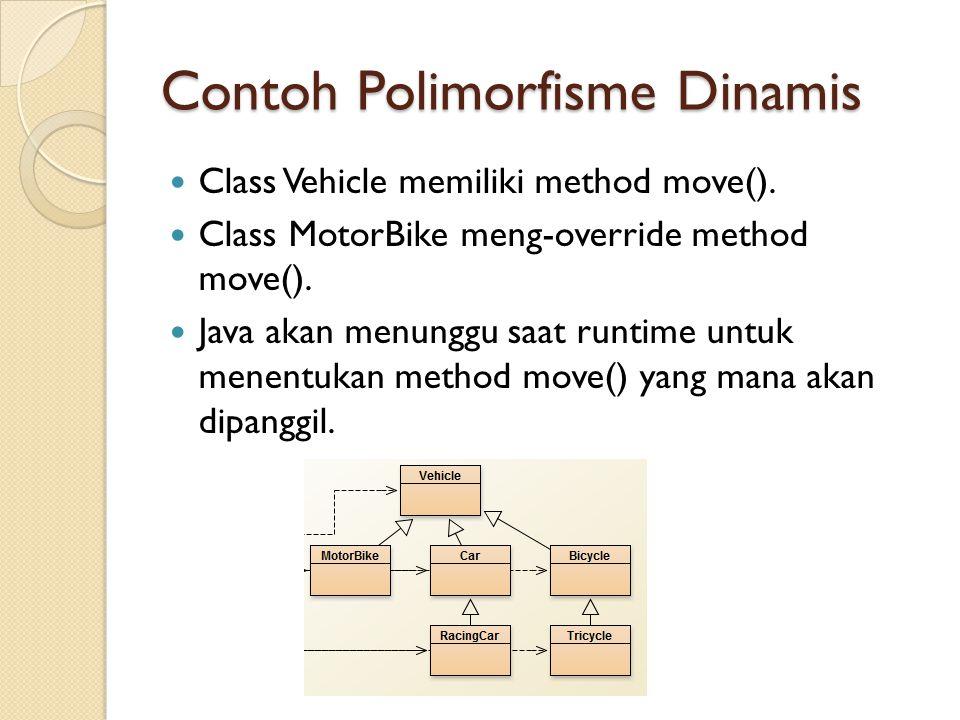 Contoh Polimorfisme Dinamis Class Vehicle memiliki method move().