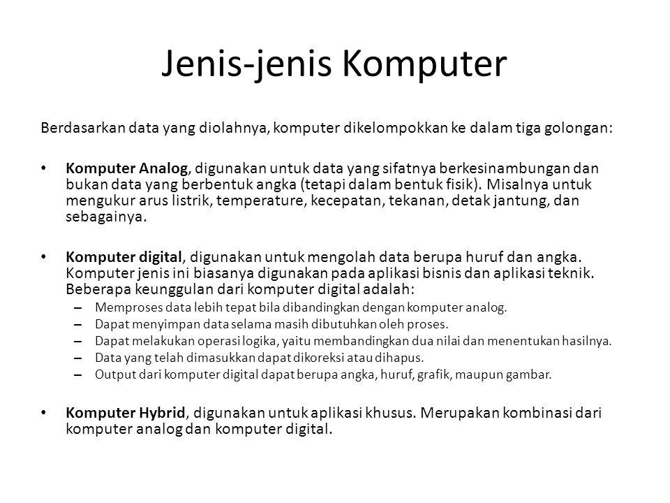 Jenis-jenis Komputer Berdasarkan data yang diolahnya, komputer dikelompokkan ke dalam tiga golongan: Komputer Analog, digunakan untuk data yang sifatnya berkesinambungan dan bukan data yang berbentuk angka (tetapi dalam bentuk fisik).