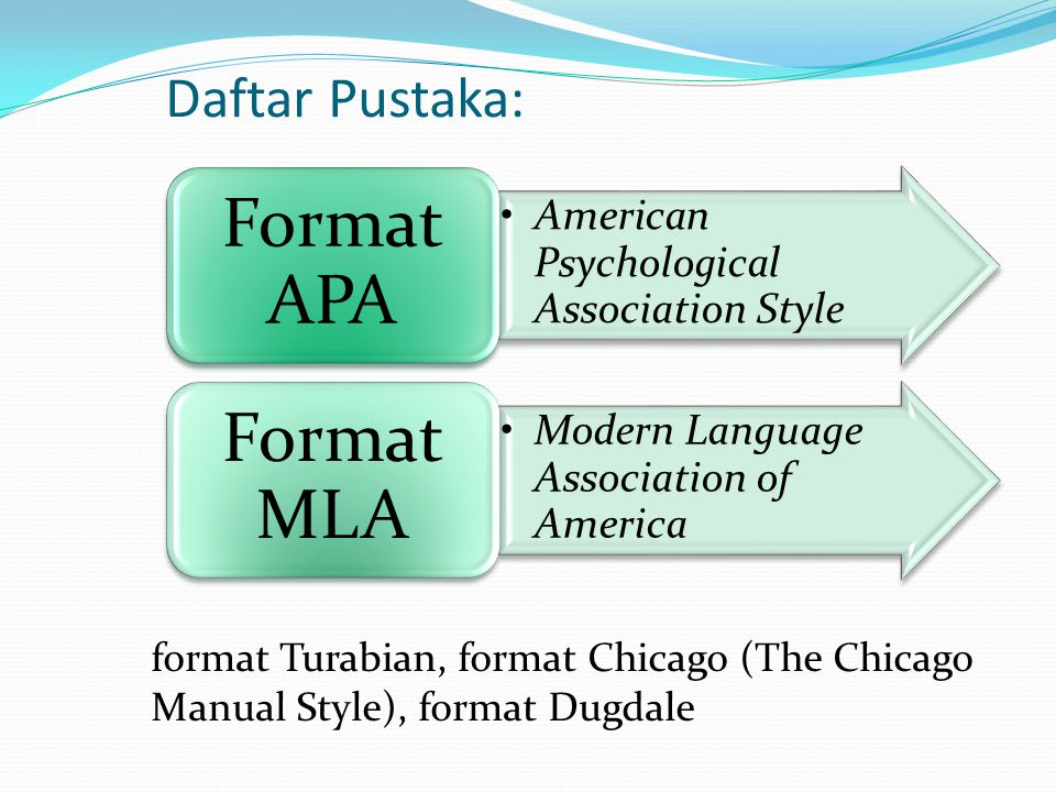 Daftar Pustaka: American Psychological Association Style Format APA Modern Language Association of America Format MLA format Turabian, format Chicago (The Chicago Manual Style), format Dugdale