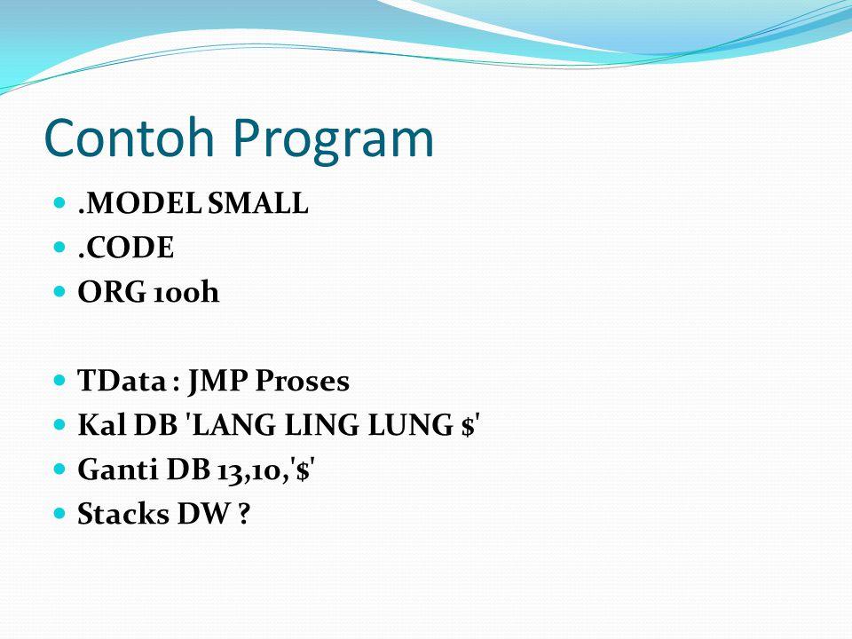 Contoh Program.MODEL SMALL.CODE ORG 100h TData : JMP Proses Kal DB 'LANG LING LUNG $' Ganti DB 13,10,'$' Stacks DW ?