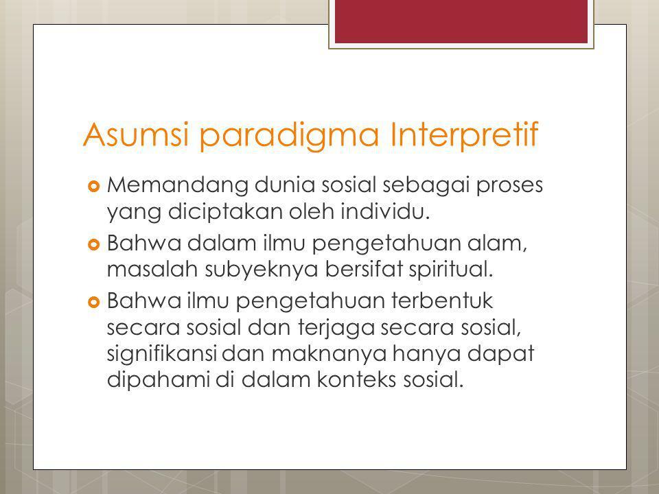 Asumsi paradigma Interpretif  Memandang dunia sosial sebagai proses yang diciptakan oleh individu.  Bahwa dalam ilmu pengetahuan alam, masalah subye