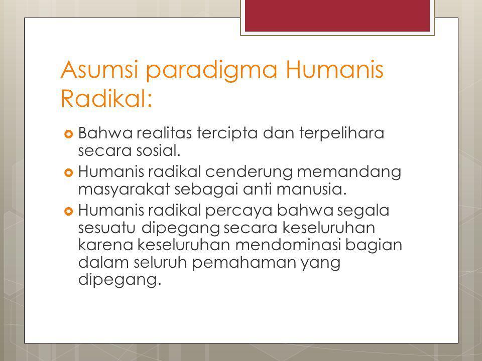 Asumsi paradigma Humanis Radikal:  Bahwa realitas tercipta dan terpelihara secara sosial.  Humanis radikal cenderung memandang masyarakat sebagai an