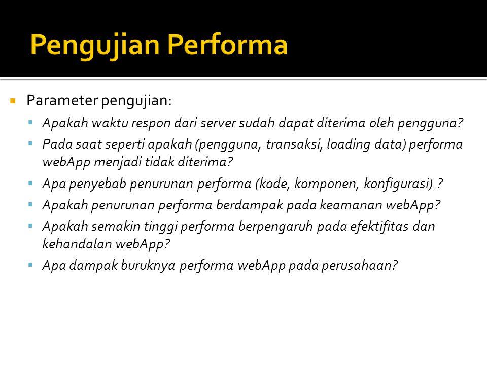  Parameter pengujian:  Apakah waktu respon dari server sudah dapat diterima oleh pengguna?  Pada saat seperti apakah (pengguna, transaksi, loading