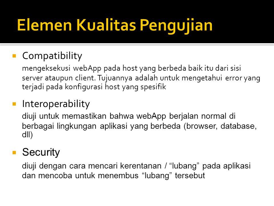  Compatibility mengeksekusi webApp pada host yang berbeda baik itu dari sisi server ataupun client. Tujuannya adalah untuk mengetahui error yang terj