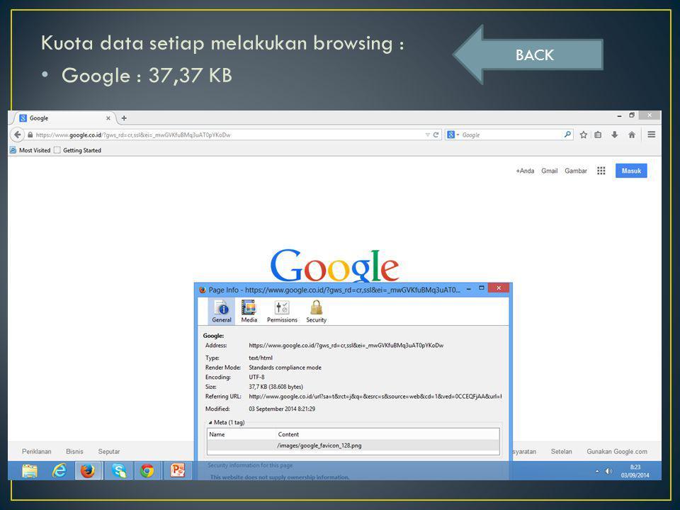 Kuota data setiap melakukan browsing : Google : 37,37 KB BACK