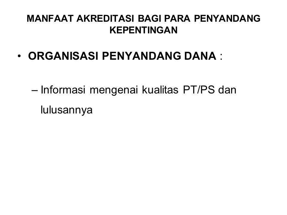 PASAR KERJA (NEGERI/SWASTA/LSM NASIONAL DAN INTERNASIONAL) : –Informasi mengenai kualitas PT/PS dan lulusannya MANFAAT AKREDITASI BAGI PARA PENYANDANG