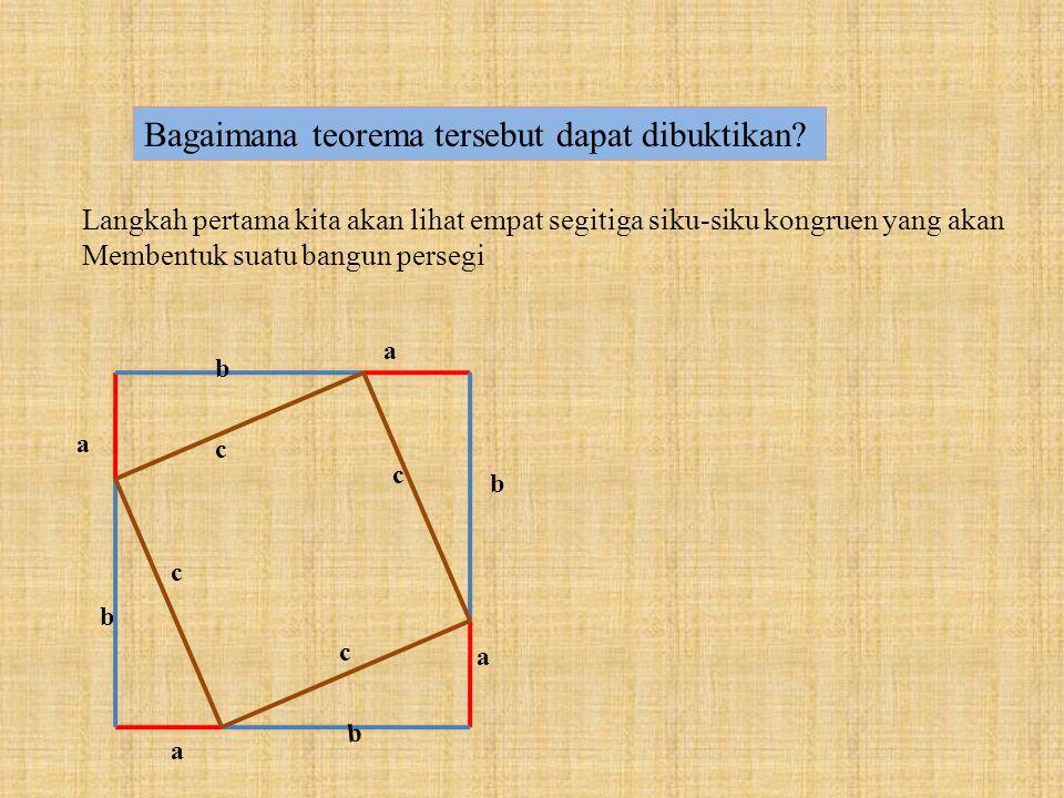 """a b c """"Jumlah kuadrat kedua sisi-sisinya sama dengan kuadrat sisi miringnya"""" a² + b² = c²"""
