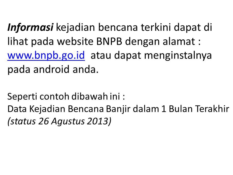 Informasi kejadian bencana terkini dapat di lihat pada website BNPB dengan alamat : www.bnpb.go.id atau dapat menginstalnya pada android anda.