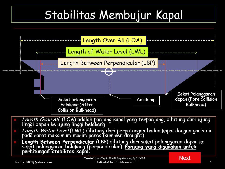 hadi_sp2003@yahoo.com Created by: Capt. Hadi Supriyono, Sp1, MM Dedicated to: PIP Makassar1 Stabilitas Membujur Kapal Length Over All (LOA) adalah pan