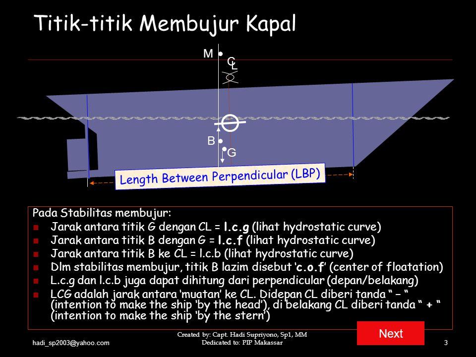 hadi_sp2003@yahoo.com Created by: Capt. Hadi Supriyono, Sp1, MM Dedicated to: PIP Makassar3 Titik-titik Membujur Kapal Pada Stabilitas membujur: Jarak