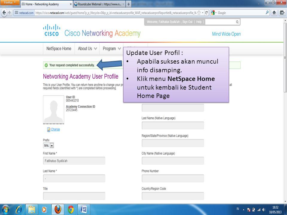 Update User Profil : Apabila sukses akan muncul info disamping.