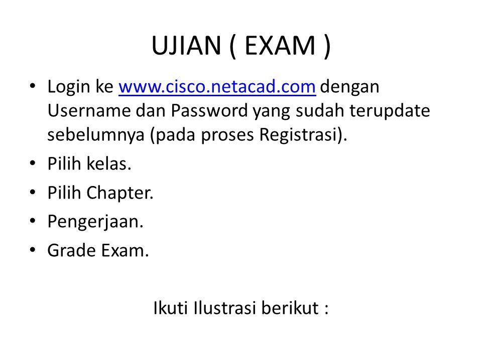 UJIAN ( EXAM ) Login ke www.cisco.netacad.com dengan Username dan Password yang sudah terupdate sebelumnya (pada proses Registrasi).www.cisco.netacad.com Pilih kelas.
