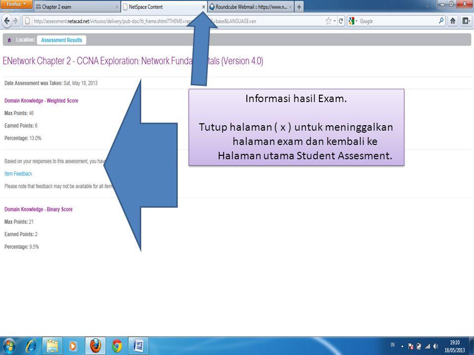 Informasi hasil Exam.