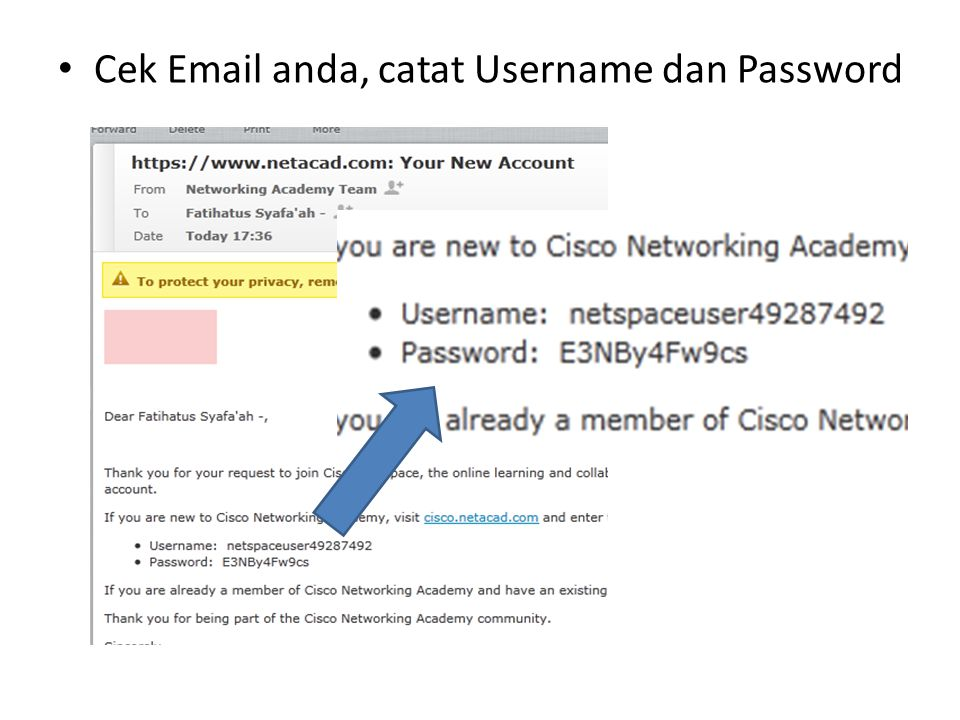 Login ke www.cisco.netacad.comwww.cisco.netacad.com 1.Isikan Username dan Password dari Email anda 2.Klik Sign In 1.Isikan Username dan Password dari Email anda 2.Klik Sign In