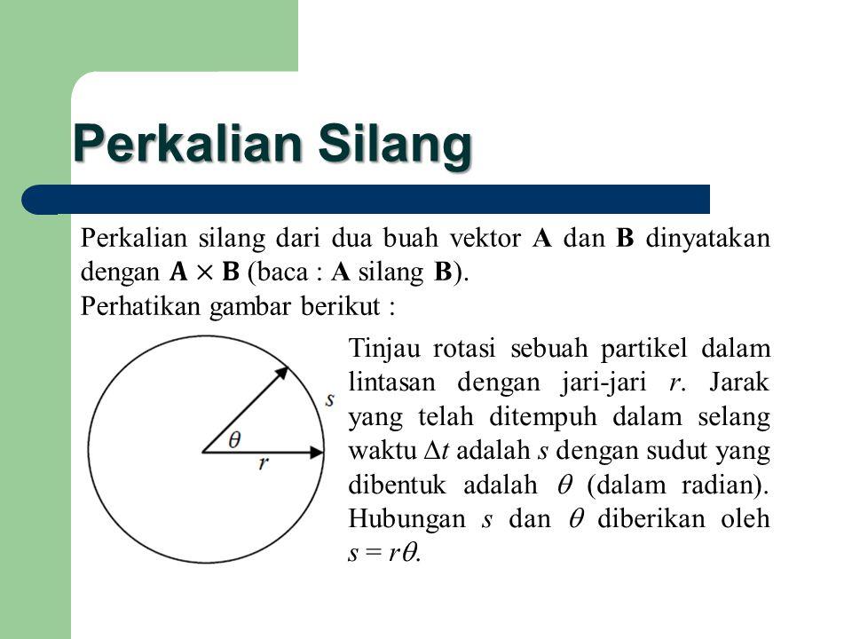 Perkalian Silang Tinjau rotasi sebuah partikel dalam lintasan dengan jari-jari r. Jarak yang telah ditempuh dalam selang waktu  t adalah s dengan sud