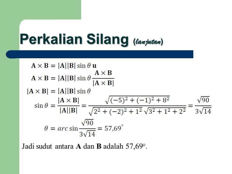 Perkalian Silang ( lanjutan ) Jadi sudut antara A dan B adalah 57,69 o.