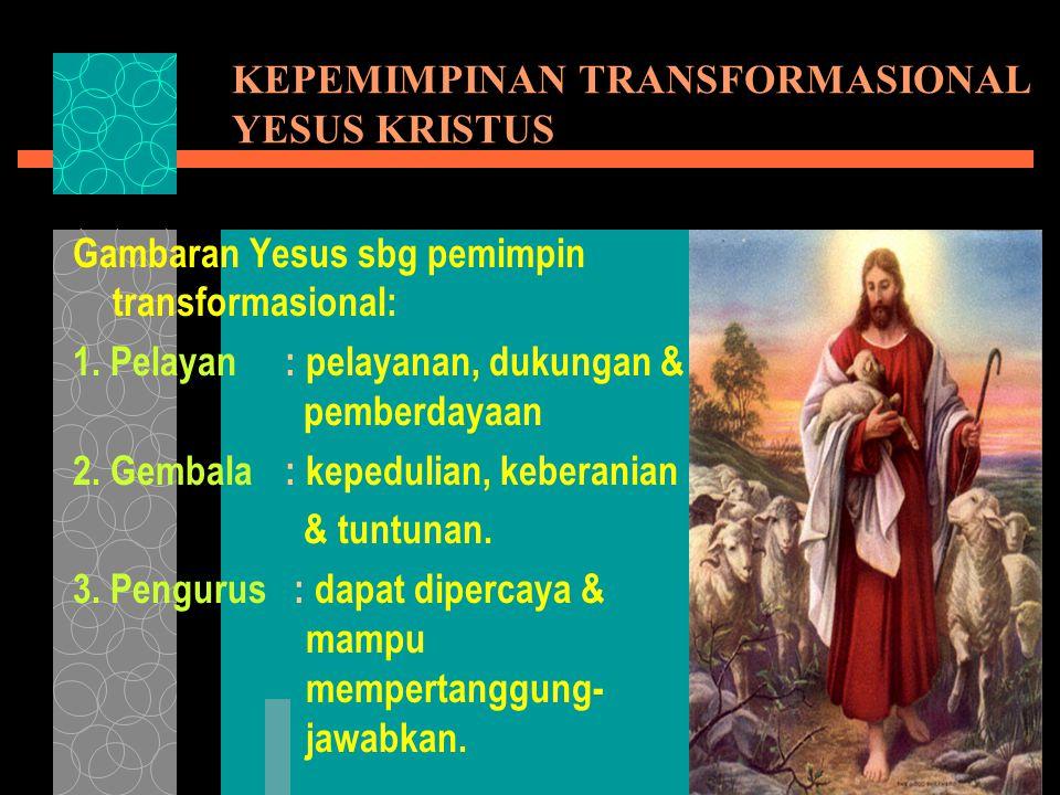 KEPEMIMPINAN TRANSFORMASIONAL YESUS KRISTUS Gambaran Yesus sbg pemimpin transformasional: 1.