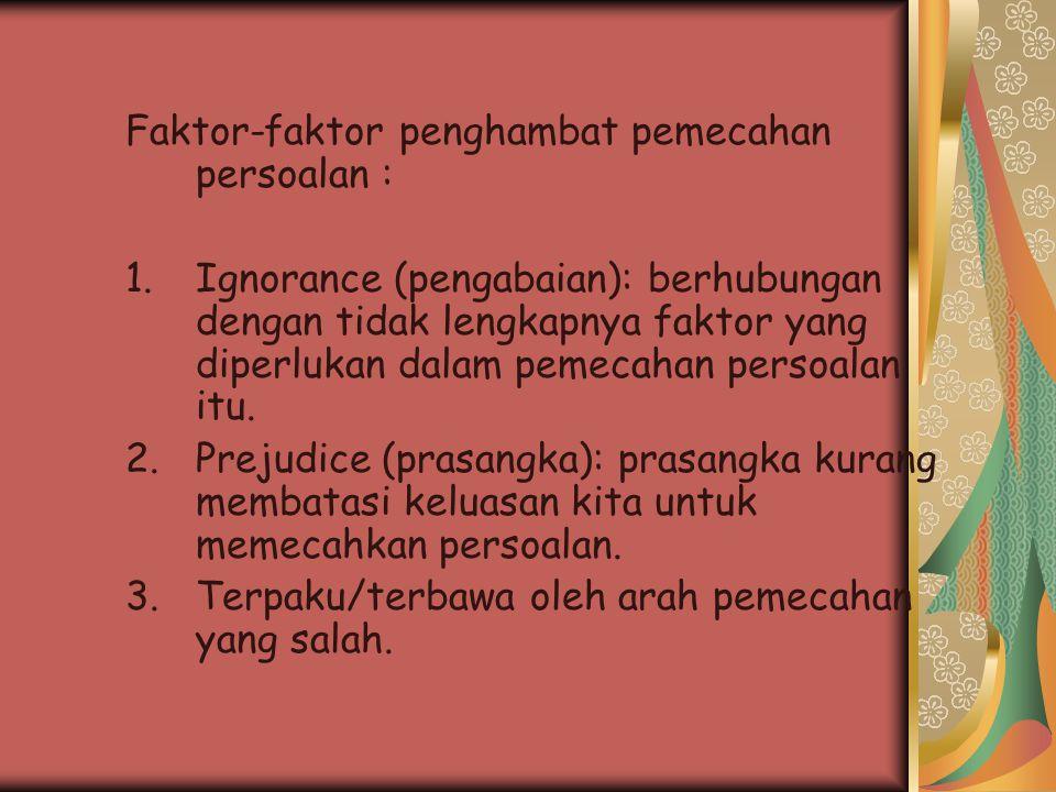 Faktor-faktor penghambat pemecahan persoalan : 1.Ignorance (pengabaian): berhubungan dengan tidak lengkapnya faktor yang diperlukan dalam pemecahan pe