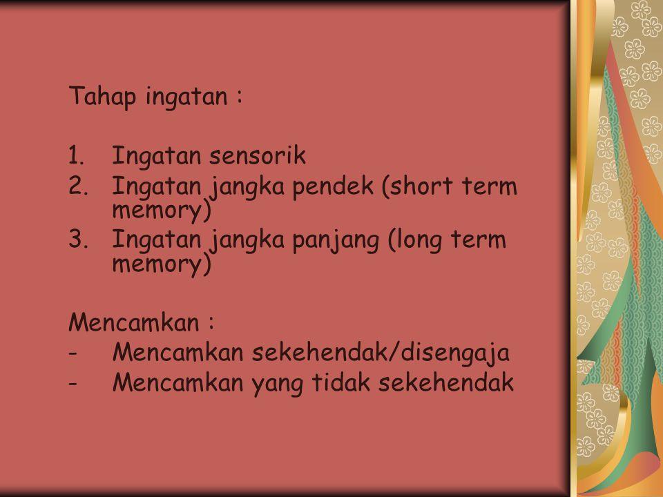 Tahap ingatan : 1.Ingatan sensorik 2.Ingatan jangka pendek (short term memory) 3.Ingatan jangka panjang (long term memory) Mencamkan : -Mencamkan seke