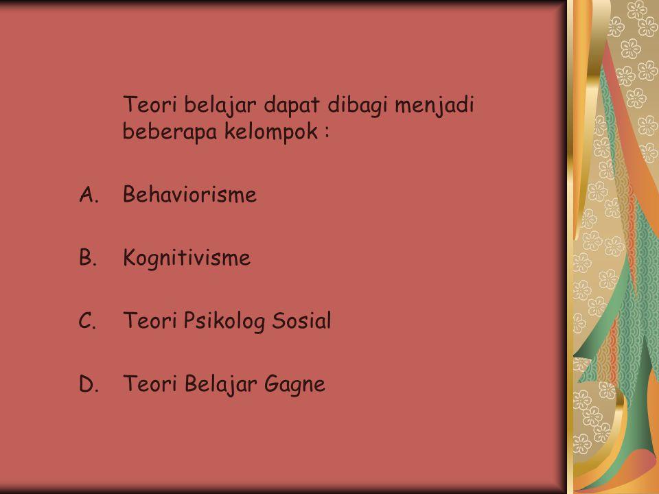 Teori belajar dapat dibagi menjadi beberapa kelompok : A.Behaviorisme B.Kognitivisme C.Teori Psikolog Sosial D.Teori Belajar Gagne