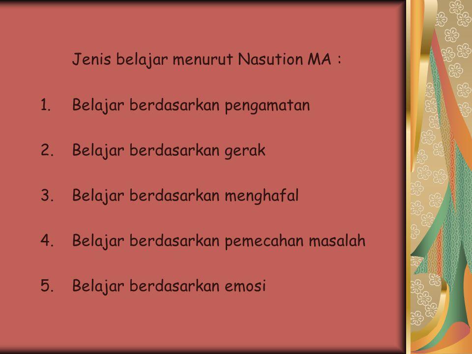 Jenis belajar menurut Nasution MA : 1.Belajar berdasarkan pengamatan 2.Belajar berdasarkan gerak 3.Belajar berdasarkan menghafal 4.Belajar berdasarkan