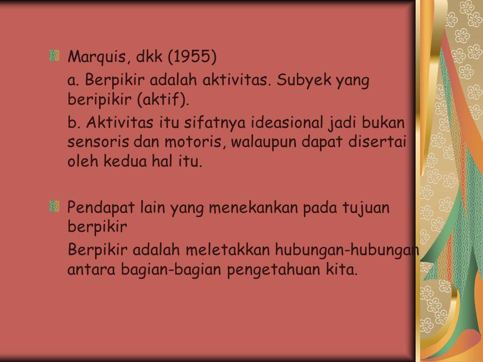 Marquis, dkk (1955) a. Berpikir adalah aktivitas. Subyek yang beripikir (aktif). b. Aktivitas itu sifatnya ideasional jadi bukan sensoris dan motoris,