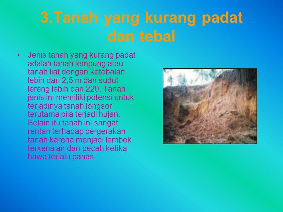 3.Tanah yang kurang padat dan tebal Jenis tanah yang kurang padat adalah tanah lempung atau tanah liat dengan ketebalan lebih dari 2,5 m dan sudut ler