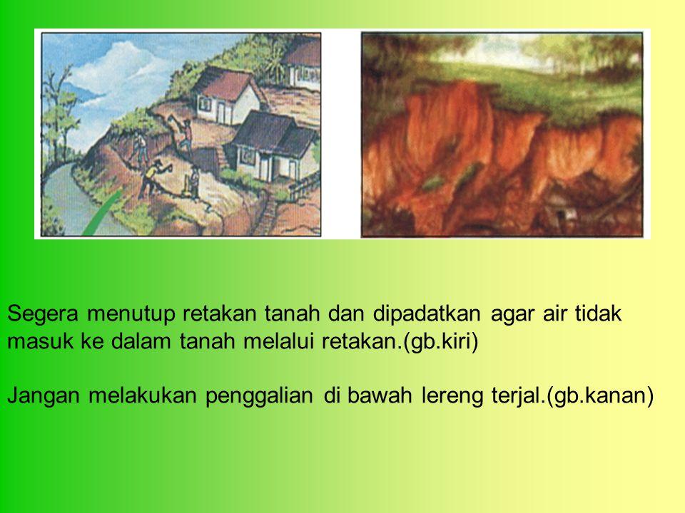 Segera menutup retakan tanah dan dipadatkan agar air tidak masuk ke dalam tanah melalui retakan.(gb.kiri) Jangan melakukan penggalian di bawah lereng