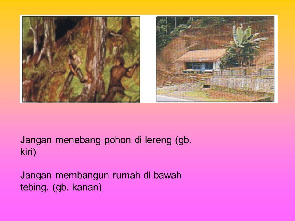 Jangan menebang pohon di lereng (gb. kiri) Jangan membangun rumah di bawah tebing. (gb. kanan)