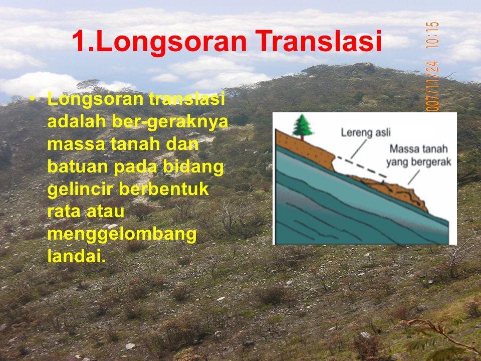 Longsoran translasi adalah ber-geraknya massa tanah dan batuan pada bidang gelincir berbentuk rata atau menggelombang landai. 1.Longsoran Translasi