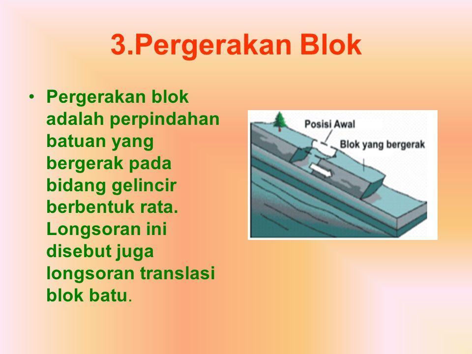 3.Pergerakan Blok Pergerakan blok adalah perpindahan batuan yang bergerak pada bidang gelincir berbentuk rata. Longsoran ini disebut juga longsoran tr
