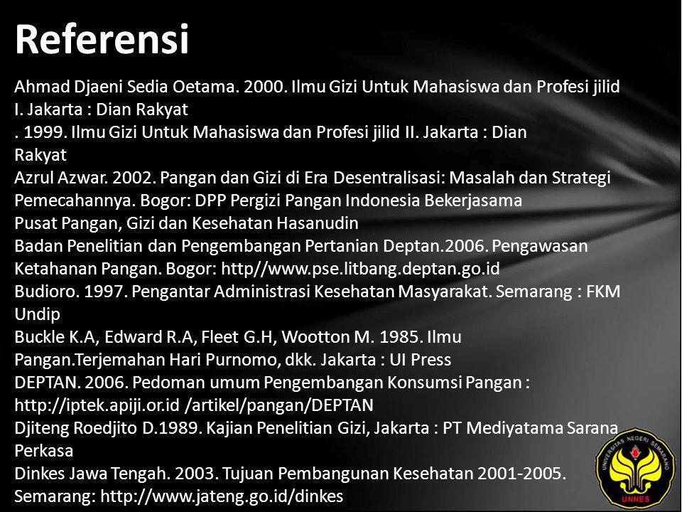 Referensi Ahmad Djaeni Sedia Oetama. 2000. Ilmu Gizi Untuk Mahasiswa dan Profesi jilid I. Jakarta : Dian Rakyat. 1999. Ilmu Gizi Untuk Mahasiswa dan P