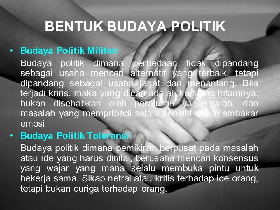 Budaya politik adalah aspek politik dari nilai-nilai yang terdiri atas pengetahuan, adat istiadat, dan mitos. Kesemuanya dikenal dan diakui oleh sebag