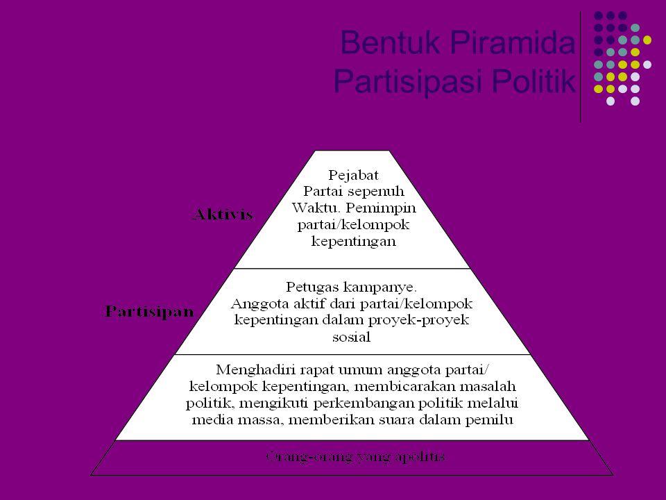 Partisipasi Politik Adalah kegiatan seseorang atau sekelompok orang untuk ikut serta secara aktif dalam kehidupan politik, Contoh : memilih pimpinan negara atau upaya- upaya mempengaruhi kebijakan pemerintah.